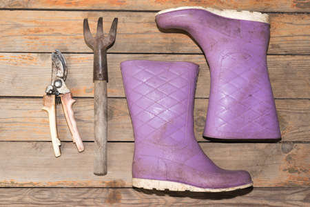 wellingtons: Old wooden texture background with tools and wellingtons, close up view