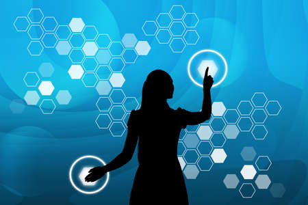 holographic: Businesswomans silhouette touching virtual holographic screen with circles