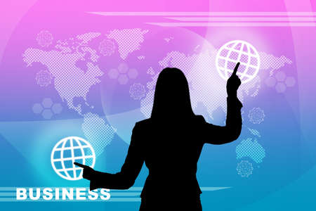 holographic: Businesswomans silhouette touching virtual holographic screen with world map