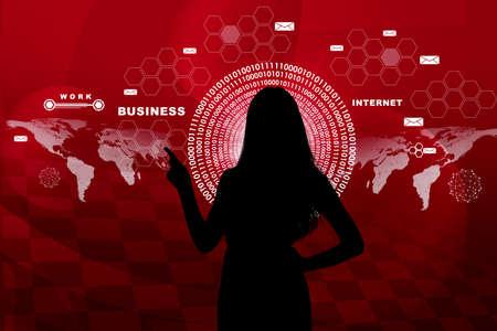 holographic: Businesswomans silhouette toccante schermo olografico virtuale con cerchi Archivio Fotografico