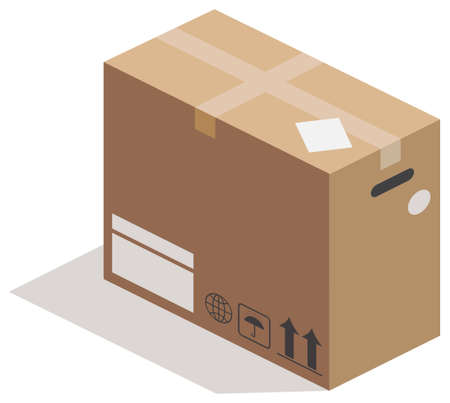 square tape: Closed carton box on white. Vector illustration
