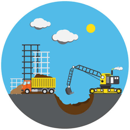 digger: Construction project with digger, vector illustration. eps 10