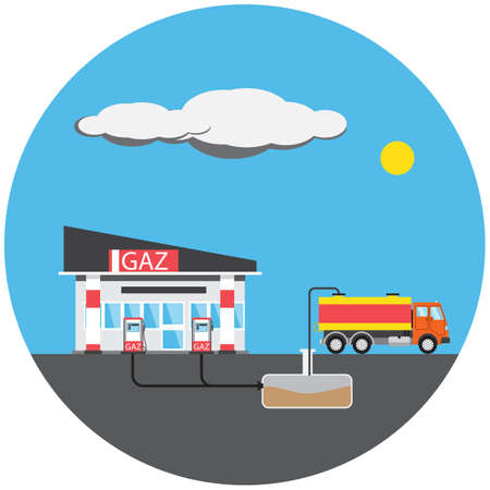 petrol station: Petrol station colorful picture with car in round, vector illustration