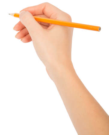 Humans hand holding pencil on isolated white background, top view