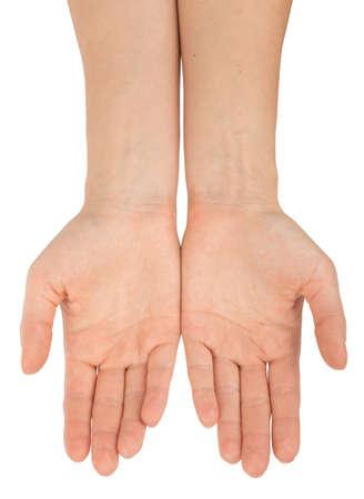 manos: Los seres humanos manos sobre fondo blanco aislado, vista desde arriba