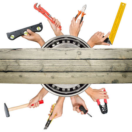crimper: Peoples hands holding tools on isolated white background Stock Photo