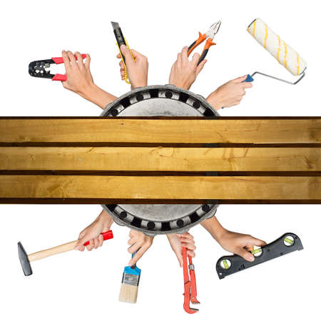 crimper: Humans hands holding tools on isolated white background