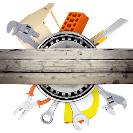 the hand tools: Hand tools with deck with bricks on isolated white background
