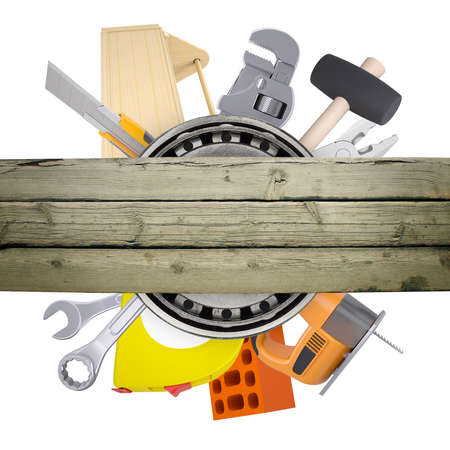 the hand tools: Hand tools with deck with hammer on isolated white background Stock Photo