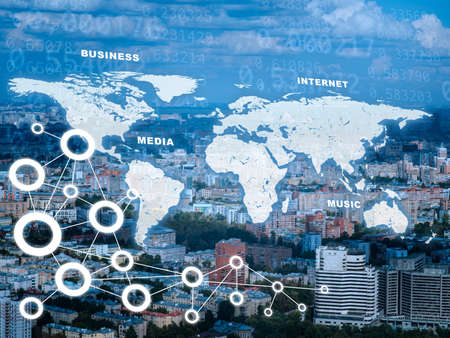 computer: Cityscape with world map and computer icons Stock Photo