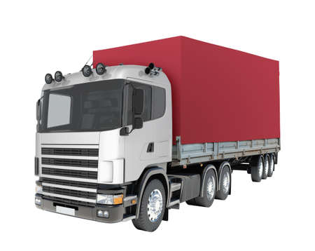 autotruck: Red truck on isolated white background, close up view