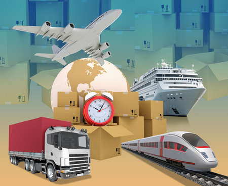 abstract alarm clock: Transport with alarm clock and earth on abstract background with boxes. Elements of this image furnished by NASA Stock Photo