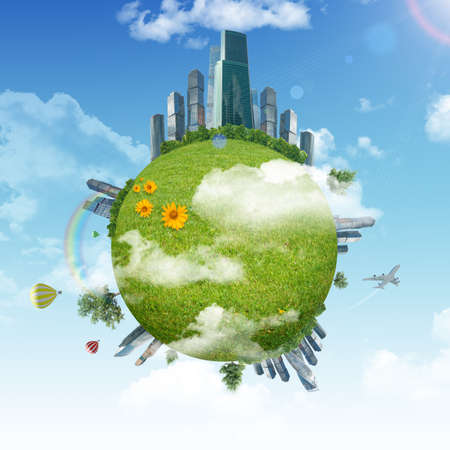 blue green background: Earth with green grass and city and blue sky background Stock Photo