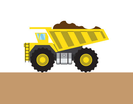 hopper: Colorful tip-truck on white and brown background. Vector illustration Illustration