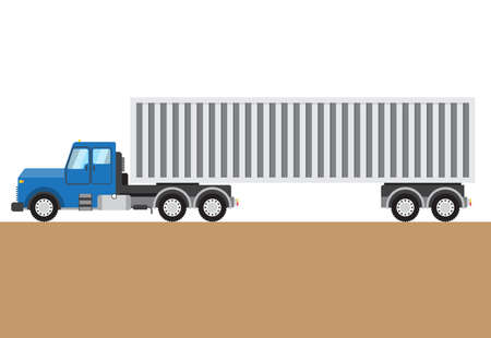 autotruck: Colorful truck on white and brown background. Vector illustration