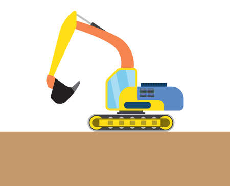 dredger: Colorful digger on white and brown background. Vector illustration Illustration