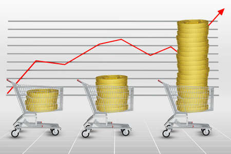graphical: Stack of coins in shopping cart on graphical chart background Stock Photo