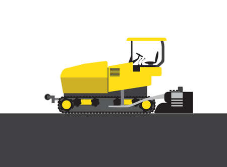 steam roller: Colorful steam roller on white and grey background. Vector illustration
