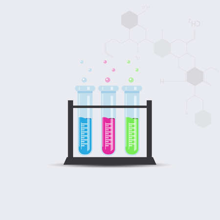 testtube: Colorful test tube with chemical chain. Vector illustration