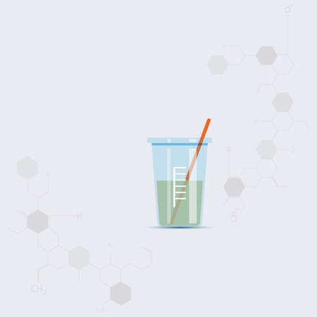 test glass: Test glass with chemical chain. Vector illustration