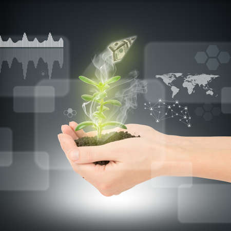 hands holding plant: Womans hands holding plant with ground and paper plane on abstract background