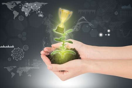 hands holding plant: Womans hands holding plant with ground and winner cup on abstract background