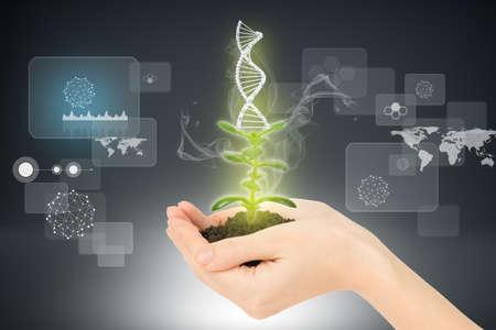 Womans handen bedrijf plant met grond en DNA op abstracte achtergrond