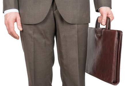 front view: Businessman with suitcase on isolated white background, front view Stock Photo