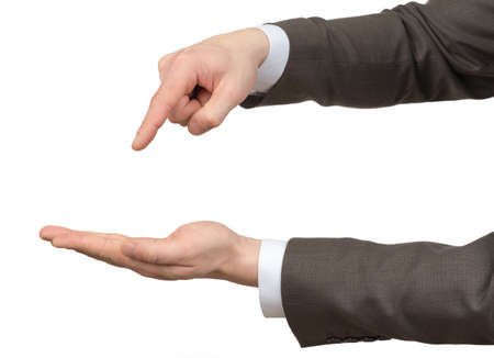 hand pointing: Businessmans hands with empty space on isolated white background
