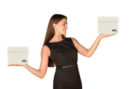 businesslady: Businesslady holding white boxes on isolated white background