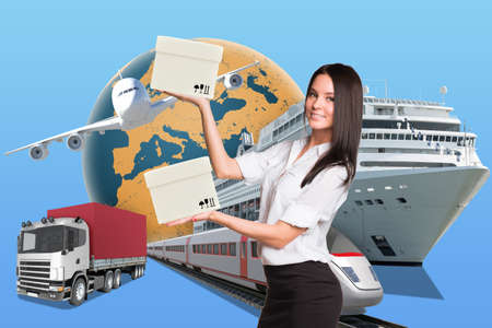 businesslady: Businesslady holding white boxes on abstract background with transport