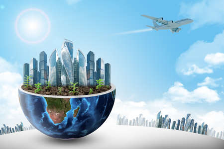 half: City in half planet on blue sky background. Elements of this image furnished by NASA