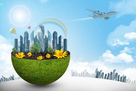 half globe: City in half green globe on blue sky background