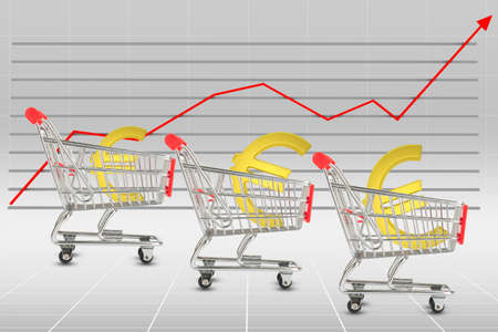 cell growth: Euro sign in shopping cart on graphical chart background