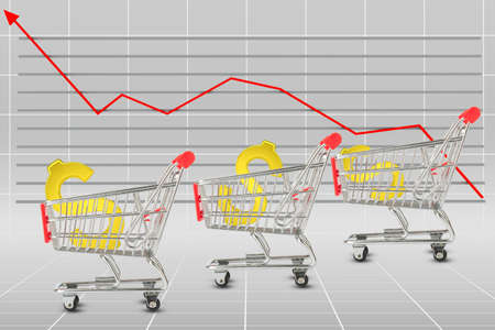 graphical: Dollar sign in shopping cart on graphical chart background Stock Photo