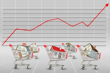 cell growth: Houses in shopping cart on graphical chart background