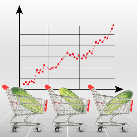 cell growth: Cucumber in shopping cart on graphical chart background