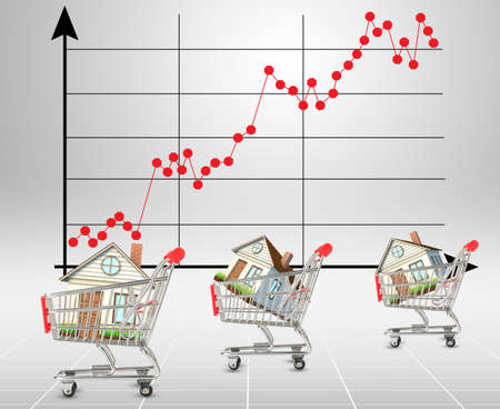 graphical: Houses in shopping carts on graphical chart background