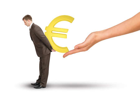 house coat: Hand giving euro sign to businessman on isolated white background Stock Photo
