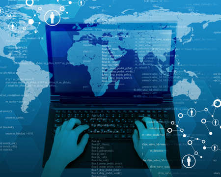 womans hands: Womans hands with laptop and map on abstract background Stock Photo