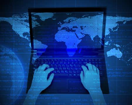 human figure: Womans manos con ordenador portátil y la Tierra en el fondo abstracto Foto de archivo