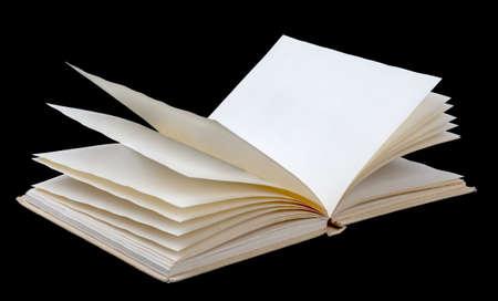 libros: Abrir el libro con hojas en blanco sobre fondo negro Foto de archivo