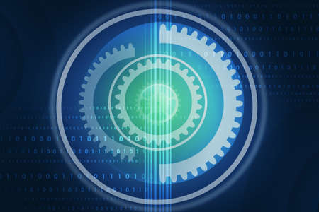 numbers abstract: Abstract blue background with gears and numbers