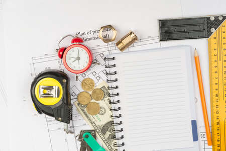 copybook: Copybook with drawings and cash, top view Stock Photo