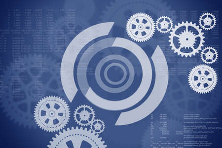 Abstract blue background with cogs and numbers Stock Photo