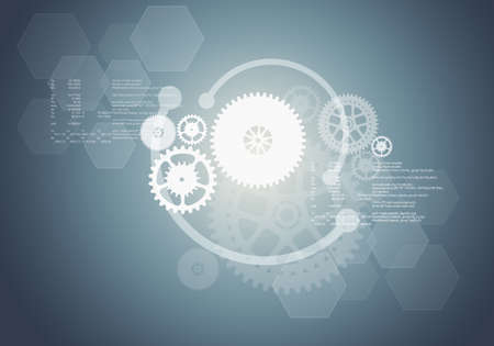 numbers abstract: Abstract grey background with cogs and numbers Stock Photo