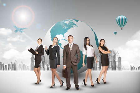 entrepreneur: Group of buisnesspeople with earth globe with city background Stock Photo