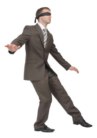 councilor: Businessman walking gingerly on isolated white background, rear view