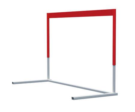 competitividad: Barrera de cinta rojo y blanco sobre fondo blanco aislado