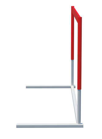 competitividad: Red and white treadmill barrier on isolated white background